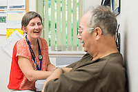 Alicia Jacobs, MD, conducts a patient interview of patient, release 20130725001, at Colchester Family Practice.