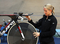 Alison Shanks withe her Avanti bike after being named in the  team for the UCI World Track Cycling Championships, Invercargill Velodrome, Invercargill, New Zealand, Wednesday, March 21 2012. Credit:SNPA / Dianne Manson
