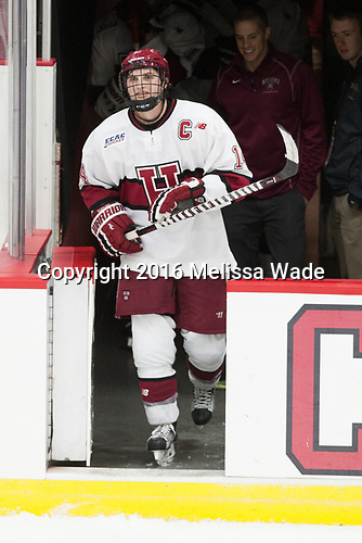 Alexander Kerfoot (Harvard - 14) - The Harvard University Crimson defeated the visiting Boston College Eagles 5-2 on Friday, November 18, 2016, at the Bright-Landry Hockey Center in Boston, Massachusetts.