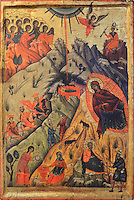Icon of the birth of Christ by Nikolla Onufri (son of Onufri), 16th century, in the National Onufri Museum in the Cathedral of the Virgin Mary inside Berat Castle or Kalaja e Beratit, in Berat, South-Central Albania, capital of the District of Berat and the County of Berat. The cathedral was built in 1797 on the foundations of an older church and its museum is named after Onufri or Onouphrios of Neokastro, Albania's famous 16th century icon painter. The museum comprises the main nave, the altar area, and several rooms in the North and West of the church. Picture by Manuel Cohen