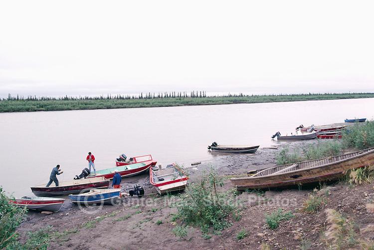 Boats anchored on Mackenzie River near Inuvik, NWT, Northwest Territories, Arctic Canada
