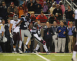 Ole Miss defensive end Jason Jones (38) and Ole Miss linebacker Ralph Williams (44) celebrate a stop on third and goal vs. Texas A&amp;M in Oxford, Miss. on Saturday, October 6, 2012. Texas A&amp;M won 30-27...