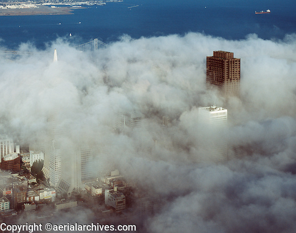 aerial photograph fog Bank of America Center Transamerica Pyramid San Francisco, California