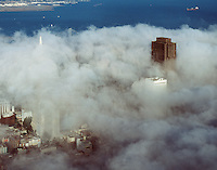 aerial photograph fog Bank of America Center Transamerica Pyramid San Francisco, California