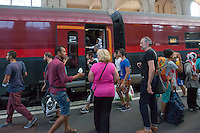 Illegal migrants try to get onto a train to travel to Germany at the main railway station Keleti in Budapest, Hungary on August 31, 2015. ATTILA VOLGYI