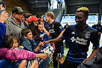 San Jose, CA - Saturday May 06, 2017: Florian Jungwirth, Cordell Cato after a Major League Soccer (MLS) match between the San Jose Earthquakes and the Portland Timbers at Avaya Stadium.