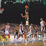 01 APR 1989:  Michigan forward Sean Higgins (24) during the NCAA Men's National Basketball Final Four semifinal game held in Seattle, WA, at the Kingdome. Michigan defeated Illinois 83-81 to meet Seton Hall in the championship game. Photo by Rich Clarkson/NCAA Photos.SI CD 0025-03