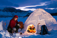 Igloo building workshop in Swedish Lapland