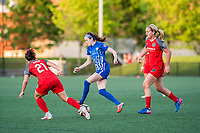 Boston, MA - Friday May 19, 2017: Hayley Raso, Rose Lavelle and Lindsey Horan during a regular season National Women's Soccer League (NWSL) match between the Boston Breakers and the Portland Thorns FC at Jordan Field.