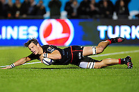 Michael Rhodes of Saracens scores a try in the second half. European Rugby Champions Cup match, between Saracens and the Scarlets on October 22, 2016 at Allianz Park in London, England. Photo by: Patrick Khachfe / JMP