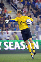 Manchester United goalkeeper Andres Lindegaard (34). Manchester United defeated the MLS All-Stars 4-0 during the MLS ALL-Star game at Red Bull Arena in Harrison, NJ, on July 27, 2011.