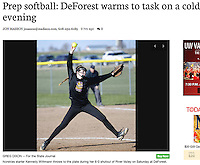 Kennedy Wittmann pitches a 6-0 shutout against River Valley on Saturday in girls high school softball at DeForest High School | Wisconsin State Journal Sports 4/10/16 and online at http://host.madison.com/wsj/sports/high-school/softball/prep-softball-deforest-warms-to-task-on-a-cold-evening/article_159a50ff-fbb6-5ff6-a070-b6fa4048e292.html