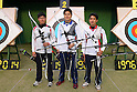 (L to R) Takaharu Furukawa, Hideki Kikuchi, Yu Ishizu (JPN), .April 22, 2012 - Archery : .Archery Japan National Team Selection match for The World Cup Ogden 2012 .at JISS Archery Field, Tokyo, Japan. .(Photo by Daiju Kitamura/AFLO SPORT) [1045]