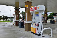 MIRAMAR, FL - OCTOBER 06: A gas station's pumps are wrapped and closed as many stations in south Florida are out of gas in Miramar, Florida on October 6, 2016. The hurricane is expected to make landfall sometime this evening or early in the morning as a possible category 4 storm.Credit: MPI10 / MediaPunch