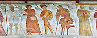 The Church of San Vigilio in Pinzolo and its fresco paintings &ldquo;Dance of Death&rdquo; painted by Simone Baschenis of Averaria in1539, Pinzolo, Trentino, Italy.<br /> <br /> Nobility, Knights and a beggar pierced with an arrow from the skeletons that are either side of him and represent dead.