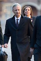 Le roi Philippe de Belgique arrive au Parlement hollandais de La Haye, pour un d&eacute;jeuner, lors d'une visite d'&eacute;tat de 3 jours aux Pays-Bas.<br /> Pays-Bas, La Haye, 28 novembre 2016.<br /> King Philippe of Belgium arrives for a lunch at the 'Binnenhof' governmental building complex in The Hague, on the second day of a three-day State visit of the Belgian royal couple to The Netherlands.<br /> Netherlands, The Hague, 29 November