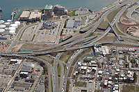 "Pearl Harbor Memorial ""Q"" Bridge, East Bound Approaches just west of Bridge. I95 I91 Route 34 Interchange Aerial Photograph, view South. Showing surface Streets: Chapel, Hamilton, Water, East & Wooster and Long Wharf Drive on 17 April 2009."