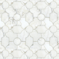 Chatham 1, a natural stone waterjet and hand cut mosaic shown in polished Thassos and honed Carrara, is part of the Silk Road Collection by Sara Baldwin for New Ravenna Mosaics. <br />