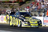 May 18, 2012; Topeka, KS, USA: NHRA funny car driver Tony Pedregon during qualifying for the Summer Nationals at Heartland Park Topeka. Mandatory Credit: Mark J. Rebilas-