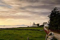 Sunset at Tungenes fyr (lighthouse), Rogaland, Norway.