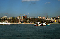 London:  Thameside Walk #7.  The white ship at left is the HQS Wellington.  The spire of St. Bride's to right.  Photo '90.