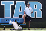 05 April 2015: Notre Dame head coach Ryan Sachire. The University of North Carolina Tar Heels hosted the University of Notre Dame Fighting Irish at Cone-Kenfield Tennis Center in Chapel Hill, North Carolina in a 2014-15 NCAA Division I Men's Tennis match. UNC won the match 5-2.