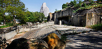 Low angle view of plateau outside Asian Elephants' enclosure with Grand Rocher (Great Rock) in the background, Parc Zoologique de Paris, or Zoo de Vincennes, (Zoological Gardens of Paris, also known as Vincennes Zoo), 1934, by Charles Letrosne, 12th arrondissement, Paris, France, pictured on April 26, 2011 in the afternoon. In November 2008 the 15 hectare Zoo, part of the Museum National d'Histoire Naturelle (National Museum of Natural History) closed its doors to the public and renovation works will start in September 2011. The Zoo is scheduled to re-open in April 2014. Picture by Manuel Cohen.