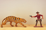 Model tiger and cowboy