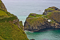A view from Northern Ireland on the Antrim Coast of the Carrick-a-Rede Rope Bridge.