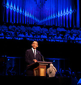 "United States President Barack Obama makes remarks at ""The Washington National Cathedral's A Call to Compassion"" Concert for Hope to commemorate the 10th anniversary of the terrorist attacks in New York, New York and Washington, D.C. on Sunday, September 11, 2011.  The angel in front of the President fell from one of the spires of the National Cathedral during the earthquake..Credit: Joshua Roberts / Pool via CNP"