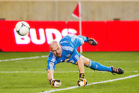 New York Red Bulls goalkeeper Bill Gaudette (88) makes a diving save. The New York Red Bulls  defeated the Portland Timbers 3-2 during a Major League Soccer (MLS) match at Red Bull Arena in Harrison, NJ, on August 19, 2012.