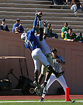 14 October 2006: Duke's Leon Wright (7) knocks the ball away from Florida State's De' Cody Fagg (r) in the endzone. The Florida State University Seminoles defeated the Duke University Blue Devils 51-24 at Wallace Wade Stadium in Durham, North Carolina in an Atlantic Coast Conference NCAA Division I College Football game.