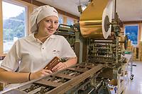 Theobroma chocolate company, old chocolate bar wrapping machine, Sitka, Alaska