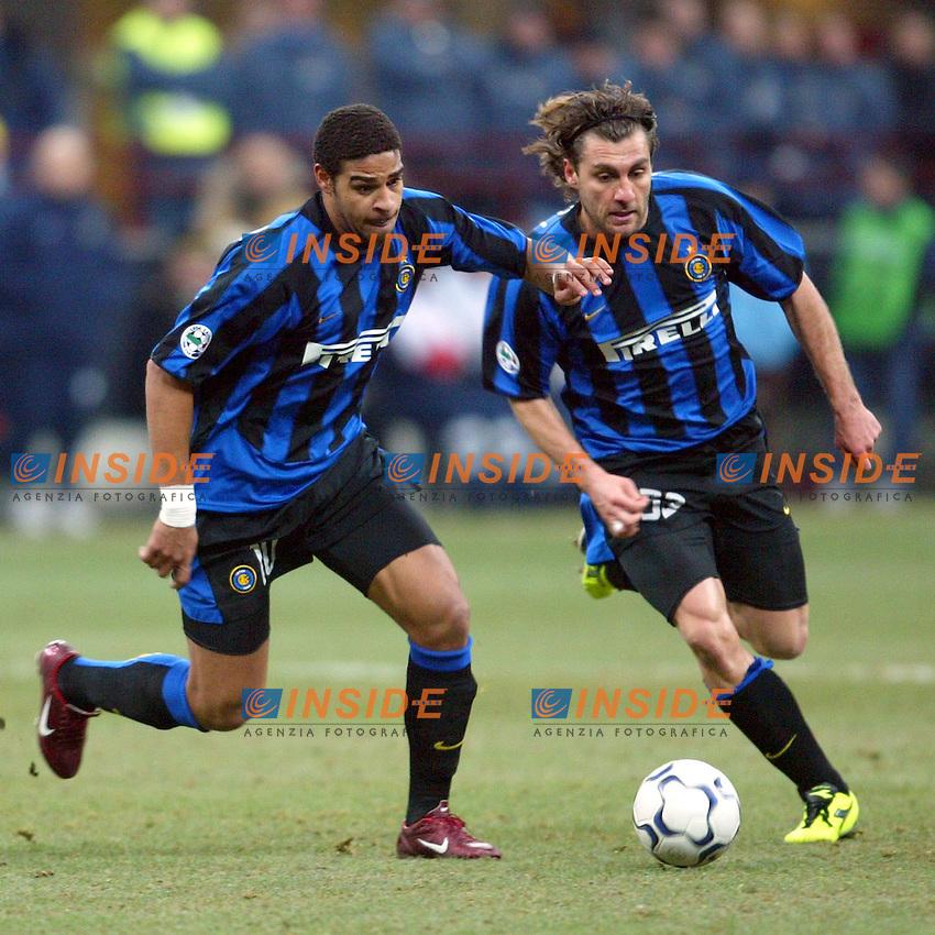 Milano 12/2/2004 Coppa Italia - Italy Cup - Semifinale <br /> Inter - Juventus 2-2 (6-7 after penalties) <br /> Adriano e Cristian Vieri (Inter)<br /> Photo Andrea Staccioli Insidefoto