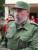 "HAVANA-JUNE 15: The Cuban President Fidel Castro,  responds to questions to the media, after signing his approval on the reformations to the Cuban Constitution that intends that the Political, Economic and Social System of the system one-party Cuban is ""untouchable"", today 15 of June 2002.  The Government from Cuba responds of this form to the speech of the President of U.S, George W. Bush, the past May 20, where he requests to Fidel Castro that carries out changes in his political system.  Credit: Jorge Rey/MediaPunch"
