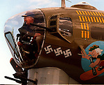 1/23/96 Al Diaz/Herald staff--Walter Schlecht , 73,  sits in a gun turret at the nose of a B-17 bomber on display at Weeks Air Museum at Tamiami Airport, Miami..Schlecht flew 35 missions over Germany during WWII as a B-17 pilot.