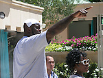 NBA star Shaquille O'Neal pumps up the crowd at the Azure pool at the Venetian /Palazzo on Sunday 08-18-2013<br />