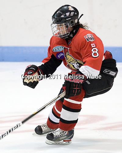 Morgan McNeil (OttawaPWHL - 8) - The Northeastern University Huskies defeated the visiting Ottawa Senators from the PWHL in an exhibition game on Friday, September 23, 2011, at Matthews Arena in Boston, Massachusetts.