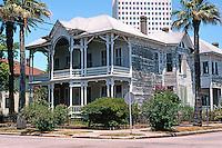 Galveston:   Corner House, 1802 Church St. Behind it looms the American National Life Insurance Bldg., 1972.