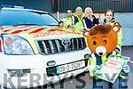 Red Cross fundraiser. Pictured Red Fred with Jason Wallace, David Frizelle, John McKiernan (Ambulance Officer), Trisha Nolan,