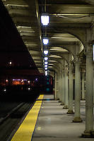 Rail commuter train station platform