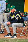 19 April 2009: University of Vermont Catamounts' Head Coach Bill Currier watches his team play against the University at Albany Great Danes at Historic Centennial Field in Burlington, Vermont. The Great Danes defeated the Catamounts 9-4 in the second game of a double-header. Sadly, the Catamounts are playing their last season of baseball, as the program has been marked for elimination due to budgetary constraints on the University. Mandatory Photo Credit: Ed Wolfstein Photo