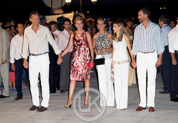 Members of The Spanish Royal Family ( L to R ) Inaki Urdangarin, Infanta Cristina, Infanta Elena, Princess Letizia, and Crown Prince Felipe,  attend a Cocktail Party at The Poseidonion Hotel, in Spetses, Greece, on the eve of the Wedding of Prince Nikolaos of Greece to Tatiana Blatnik.