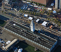 aerial photograph Superbowl City, Ferry Building and Embarcadero during Superbowl 50, San Francisco, California