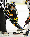 2 January 2009: University of Vermont Catamounts' forward Justin Milo, a Sophomore from Edina, MN, takes a faceoff against the Colgate Raiders during the second game of the 2009 Catamount Cup Ice Hockey Tournament hosted by the University of Vermont at Gutterson Fieldhouse in Burlington, Vermont. The Catamounts defeated the Raiders 6-4 to move onto the championship game against the St. Lawrence Saints...Mandatory Photo Credit: Ed Wolfstein Photo