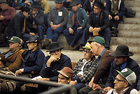 farmers  at Lancaster stockyard exchange livestock auction
