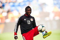 Marius Obekop (13) of the New York Red Bulls during warmups. The New York Red Bulls and the Columbus Crew played to a 2-2 tie during a Major League Soccer (MLS) match at Red Bull Arena in Harrison, NJ, on May 26, 2013.