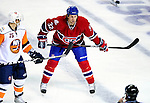 26 October 2009: Montreal Canadiens' left wing forward Travis Moen prepares for a faceoff during the first period against the New York Islanders at the Bell Centre in Montreal, Quebec, Canada. The Canadiens defeated the Islanders 3-2 in sudden death overtime for their 4th consecutive win. Mandatory Credit: Ed Wolfstein Photo