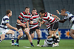 Ronald Raaymakers and Grant Henson arrive in support for Sherwin Stowers as he gets tackled by Gareth Anscombe. ITM Cup Round 7 rugby game between Auckland and Counties Manukau, played at Eden Park, Auckland on Thursday August 11th..Auckland won 25 - 22.