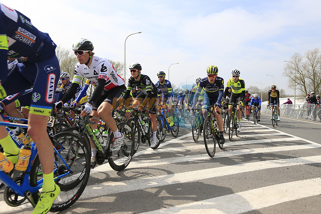 The peloton including Edvald Boasson Hagen (NOR) Team Dimension Data pass through Mater during the 60th edition of the Record Bank E3 Harelbeke 2017, Flanders, Belgium. 24th March 2017.<br /> Picture: Eoin Clarke | Cyclefile<br /> <br /> <br /> All photos usage must carry mandatory copyright credit (&copy; Cyclefile | Eoin Clarke)